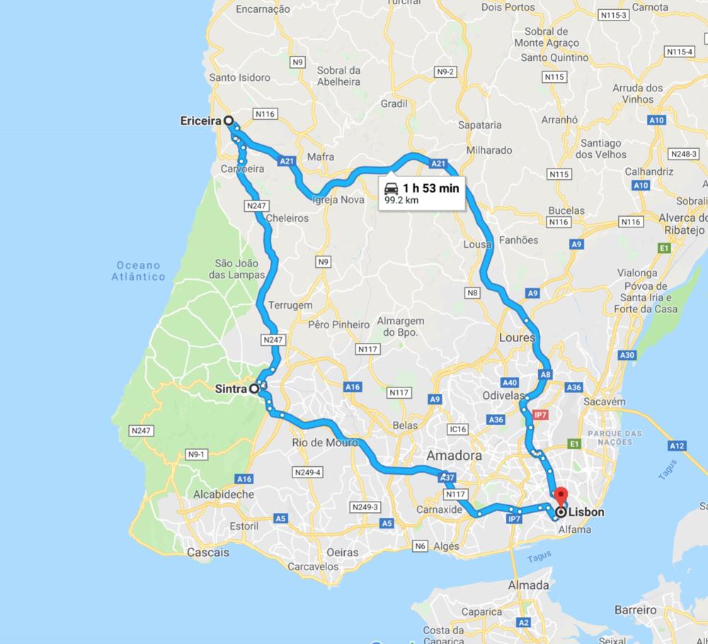 مسار رحلة البرتغال