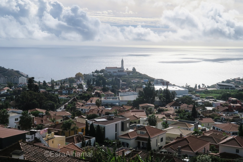 View point in Madeira with a church in the distance