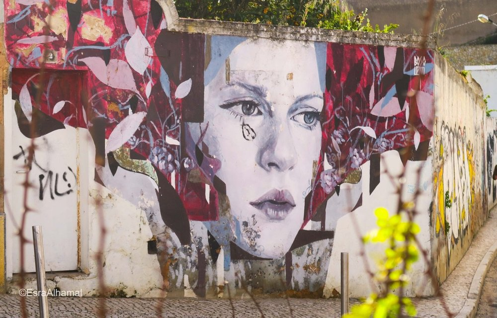 Big scale portrait Graffiti in Lagos, Portugal