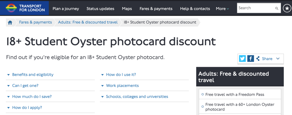 18+ Student Oyster photocard discount