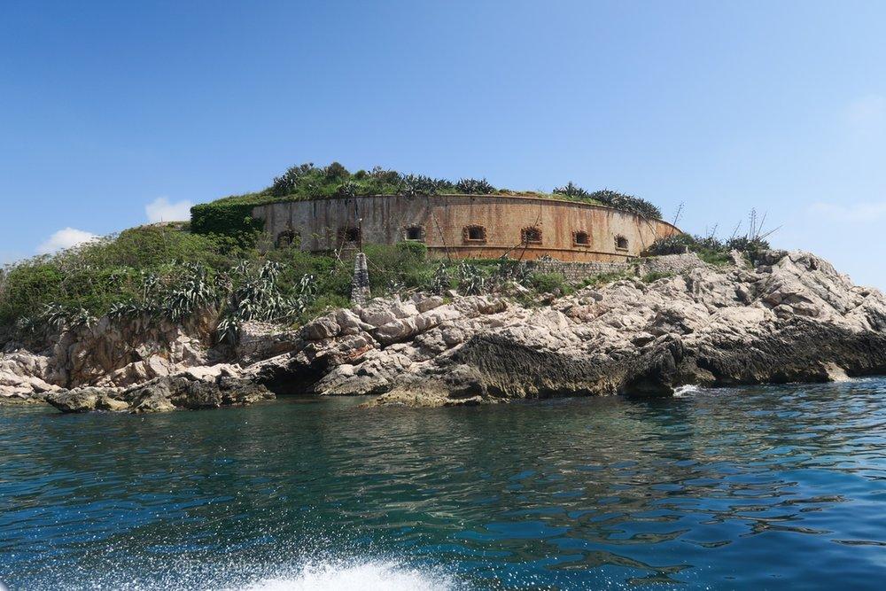 Closeup of Prison Island, Kotor, Montenegro