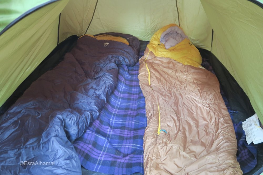 Camping Sleeping bag and Camping setup inside the tent