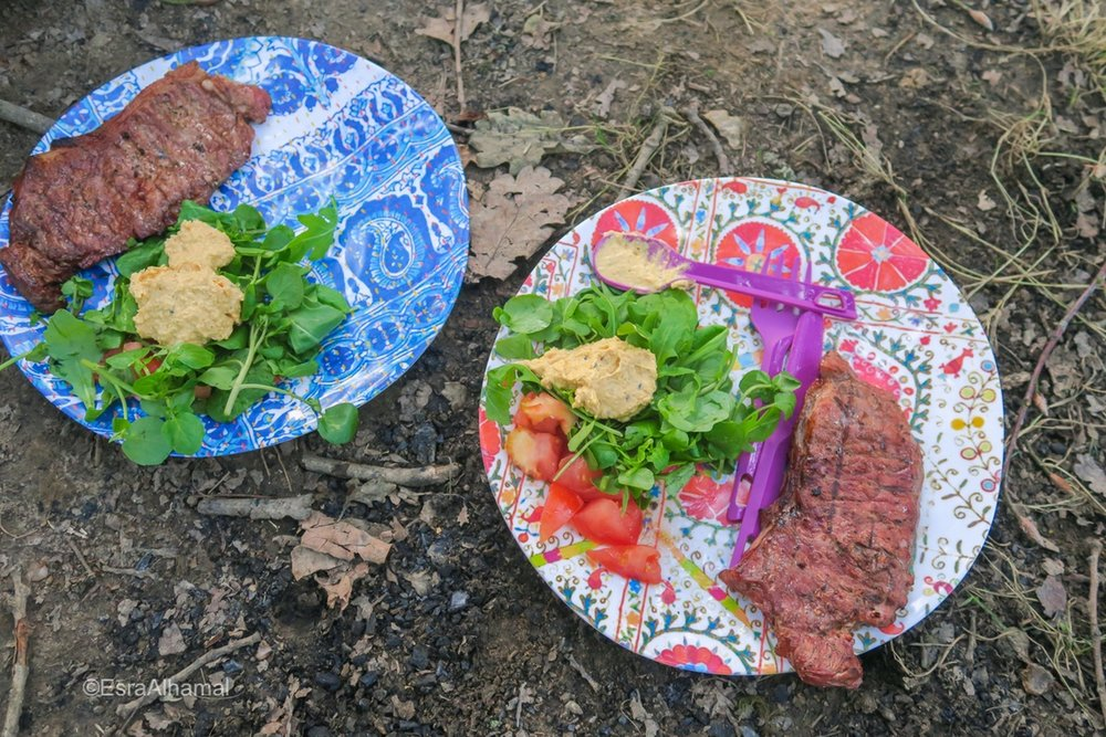BBQ Steak during camping