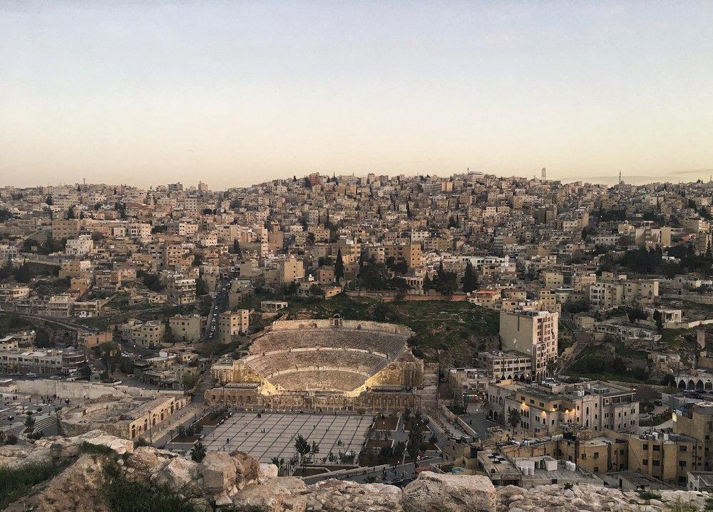 Roman amphitheater and the Citadel in Aman Jordan