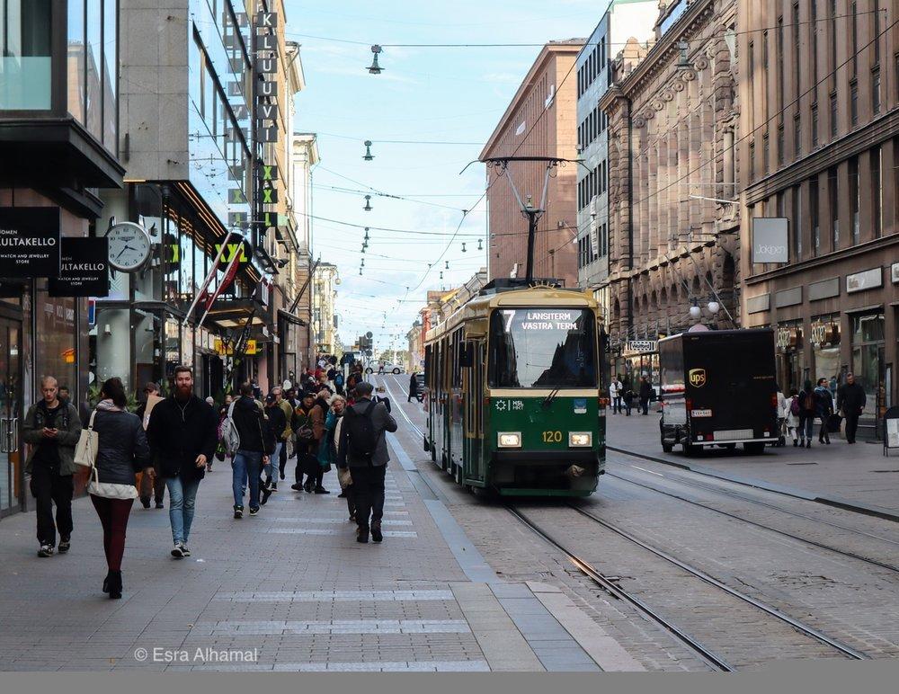 The trams in Helsinki