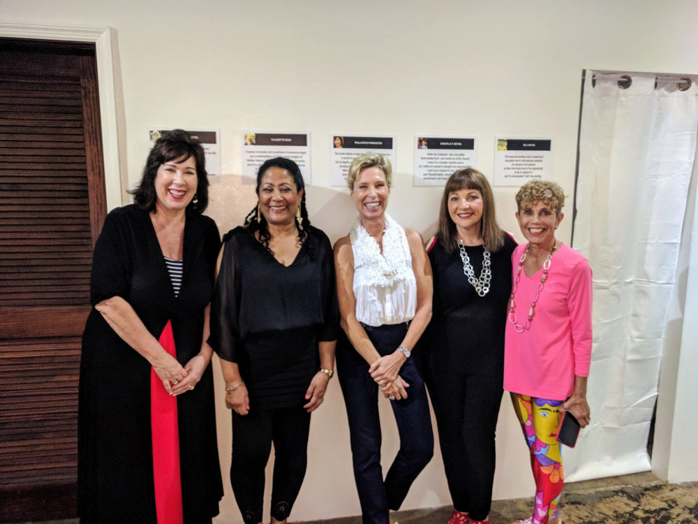 Artists Paula Boyd Farrington, Chantal Bethel, Laurie Tuchel, Claudette Dean, and Del Foxton at YIN opening at  Hillside House Gallery , Nassau, Bahamas.
