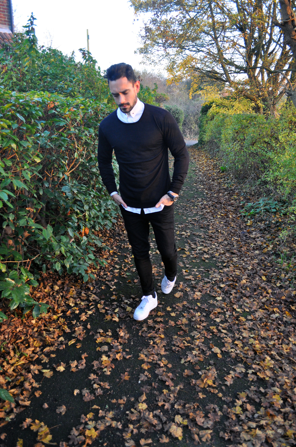 Ditching the t-shirt and   All-Saints leather jacket   and replaced with a thin black wool jumper for those random warm winter days, keeping things casual with   ASOS black skinny jeans   and Nike Air Force 1 trainers.