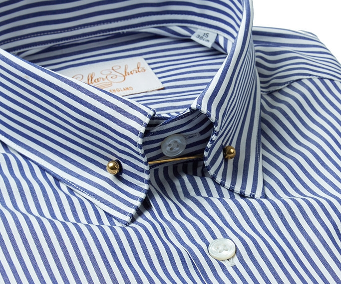 Navy Pin Collar Shirt