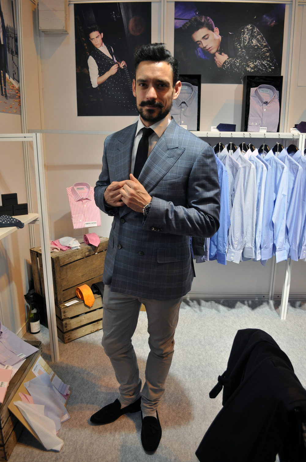 Me at the Hawkins & Shepherd stand at MODA wearing Canali double-breasted suit jacket.