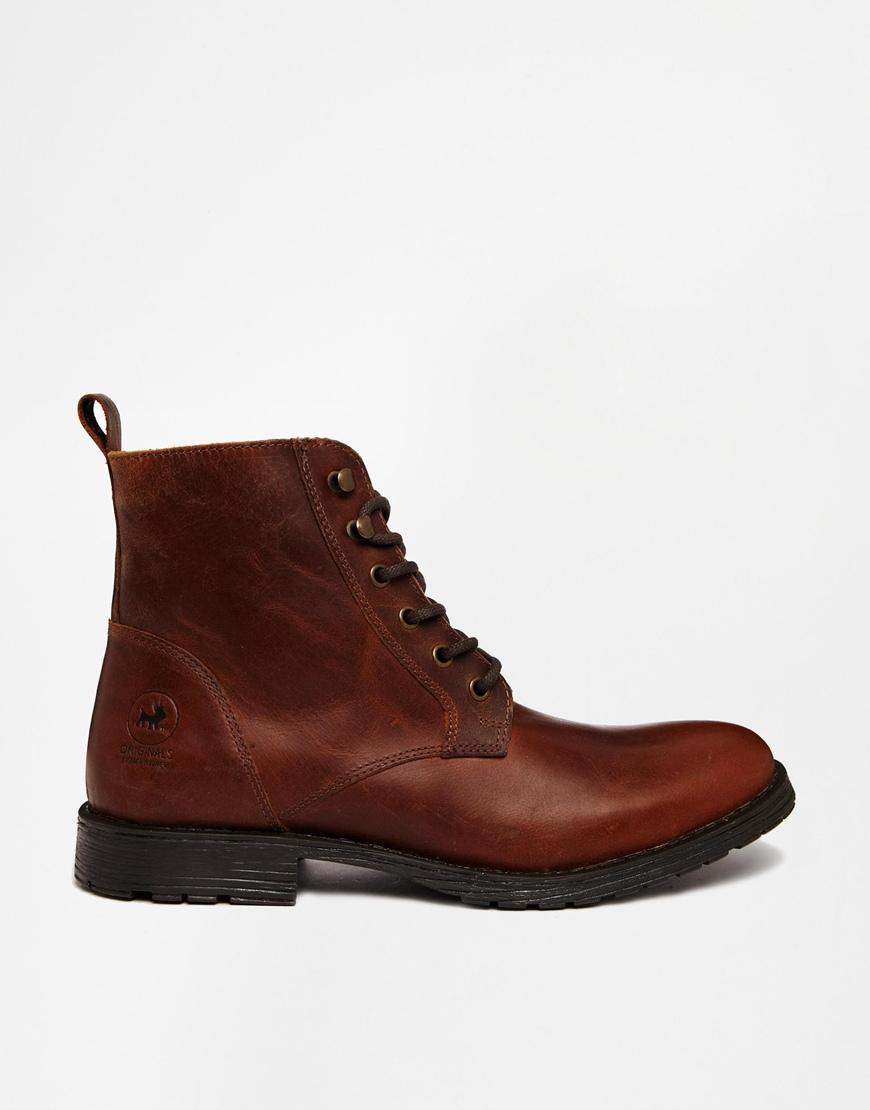 Jack & Jones Brown Leather Boots