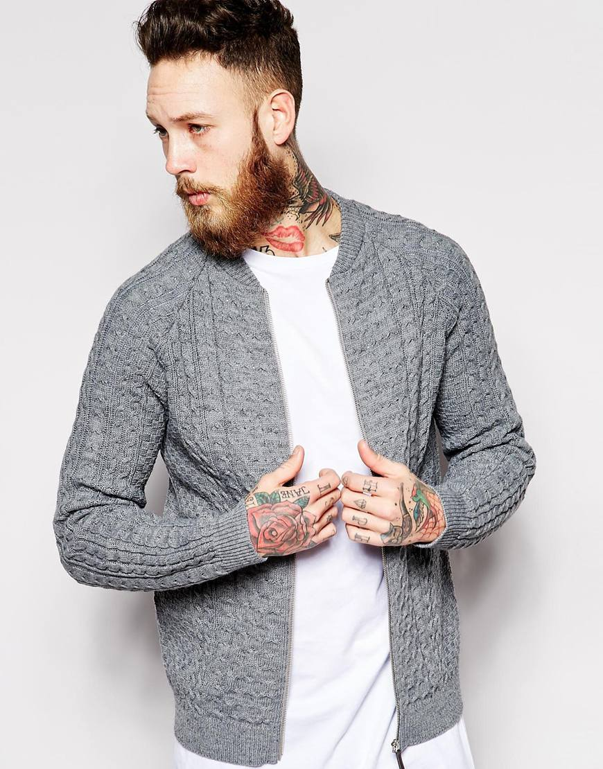 Grey Knitted Bomber Jumper