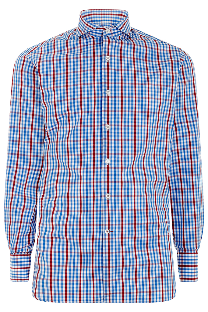 Red Navy Gingham Check Shirt