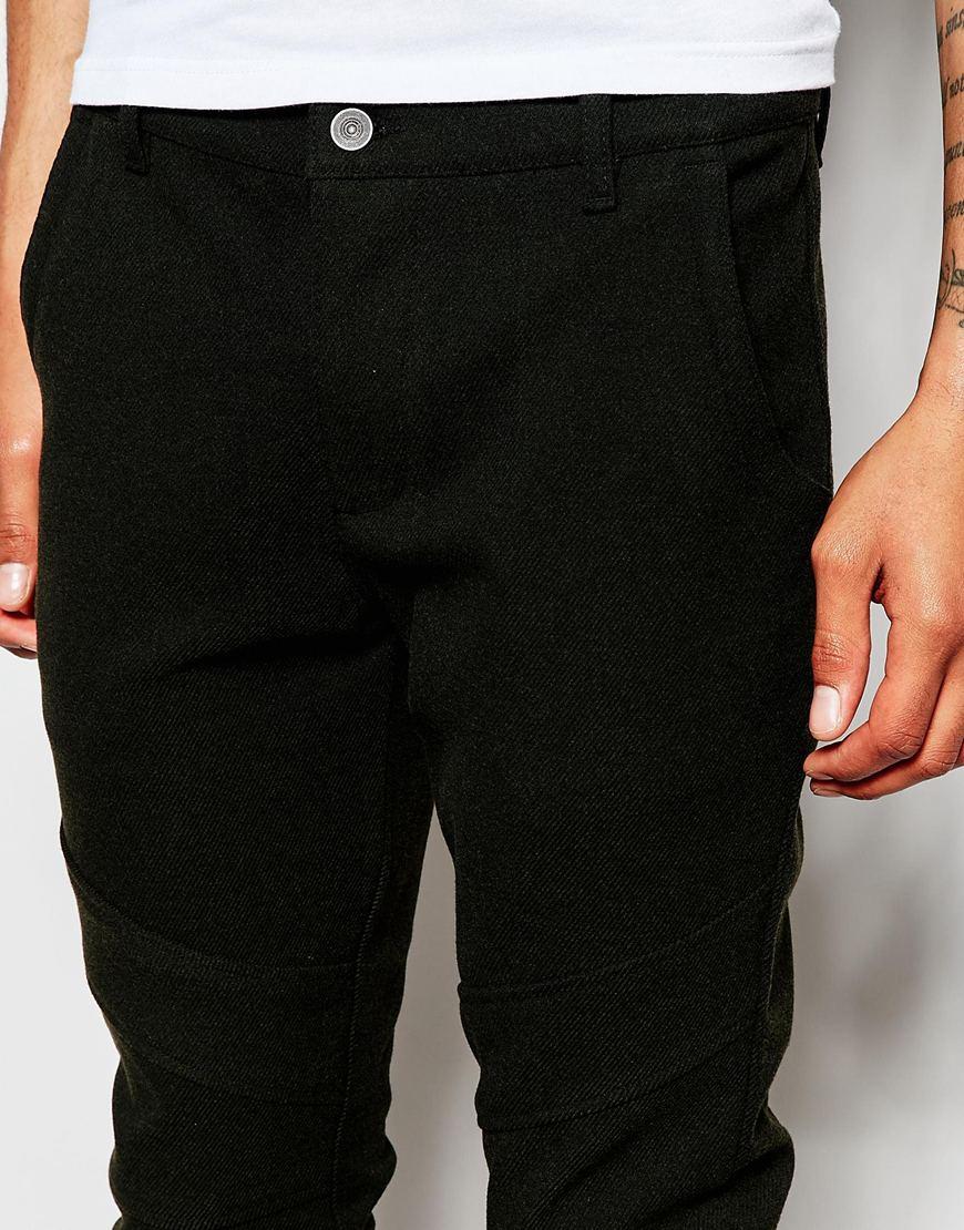 ASOS Khaki Skinny Biker Trousers