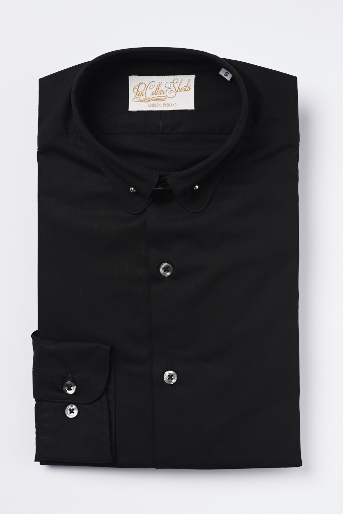 Black Pin Collar Shirt