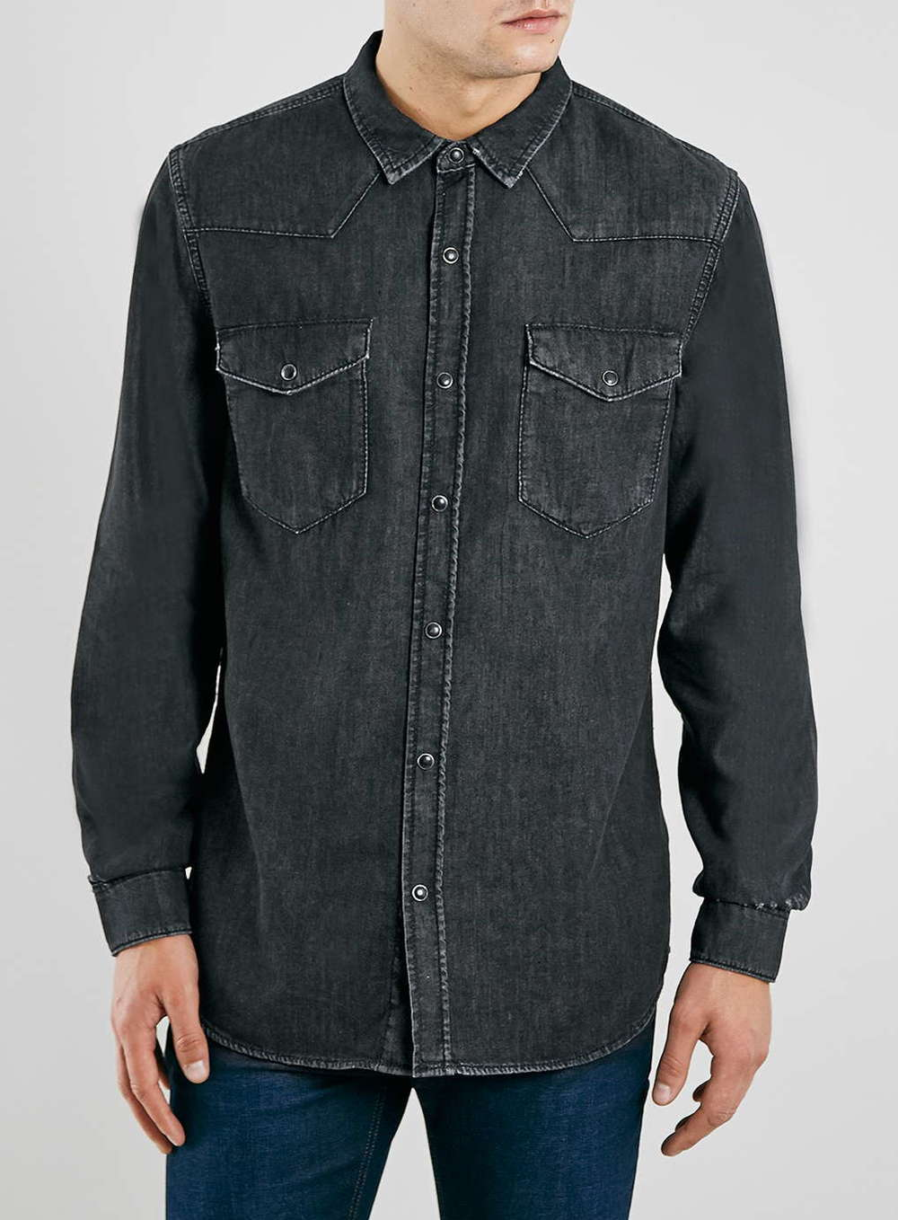 Topman Black Denim Shirt