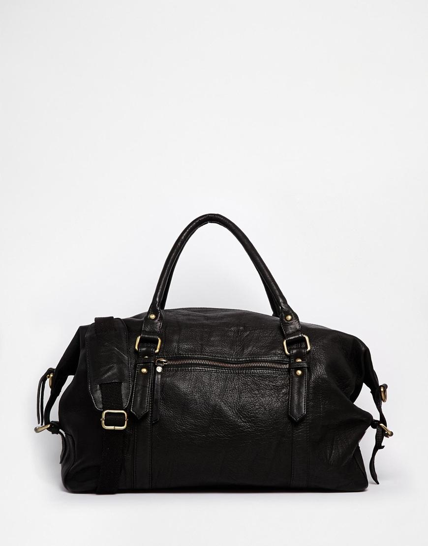 Black Leather Holdall