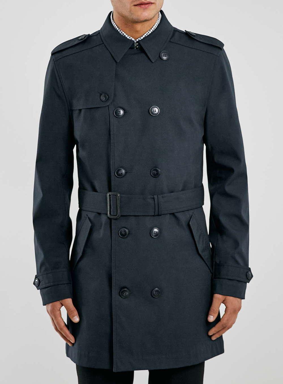 Topman Navy Trench Coat