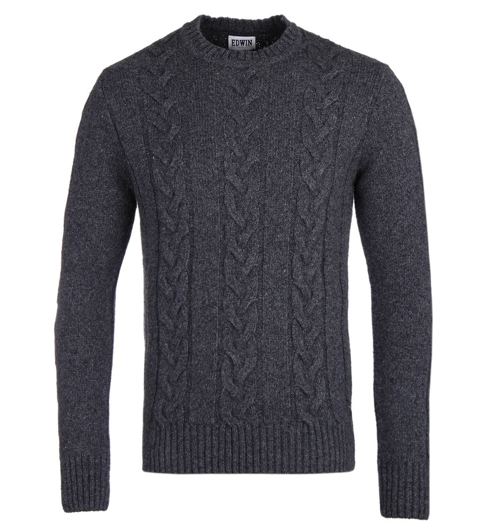 Edwin Cable Knit Roll Neck Jumper