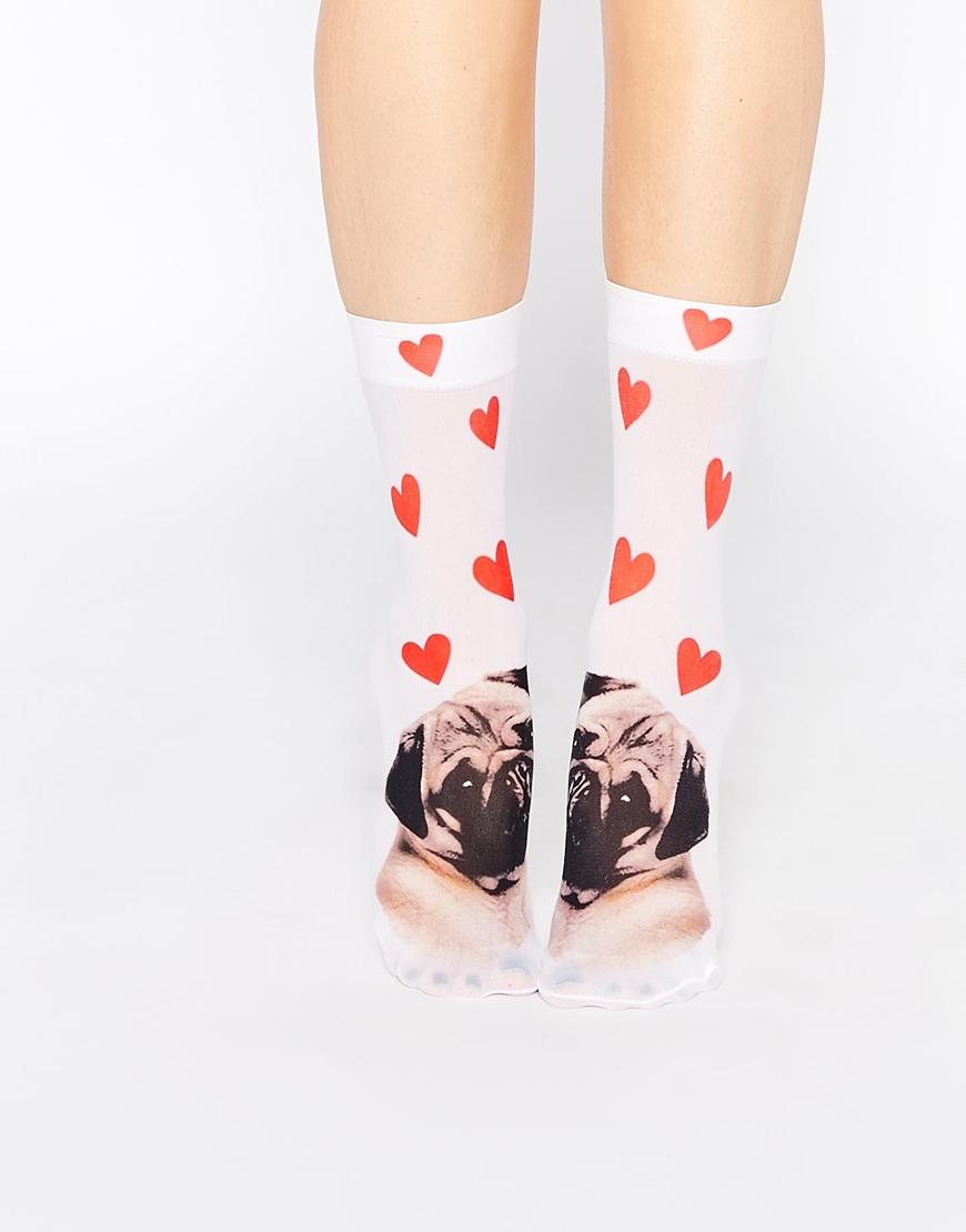 Pug Love heart socks