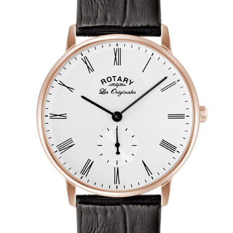 Rose-Gold Mens Rotary Watch