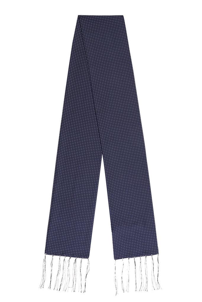 Micro Polko Dot Navy Silk Scarf