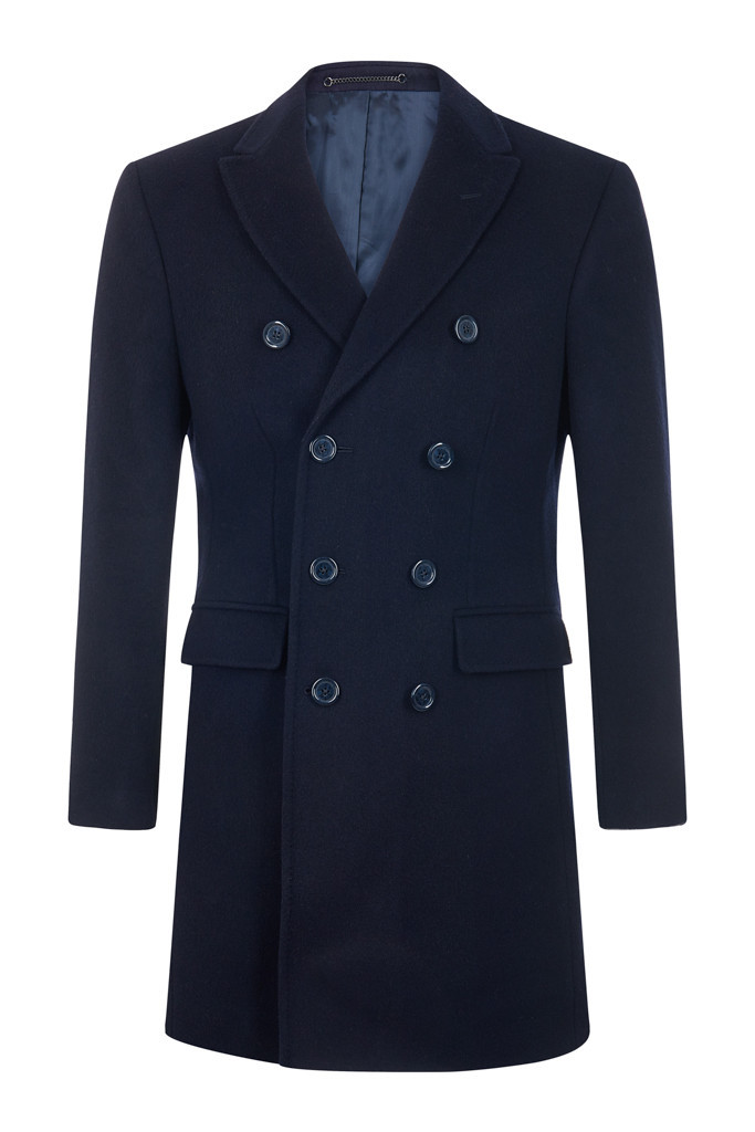Navy Cashmere Blend Overcoat