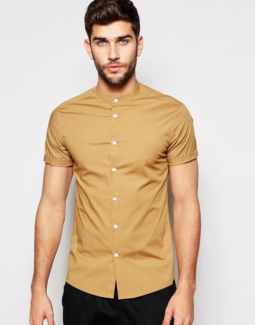 ASOS Camel Granddad Shirt