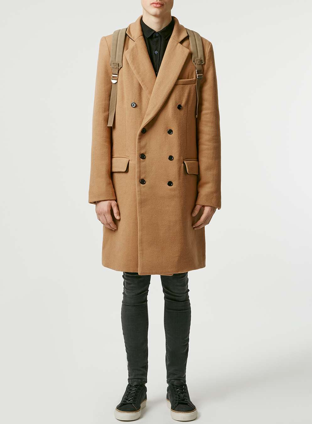Topman Camel Double-Breasted Coat