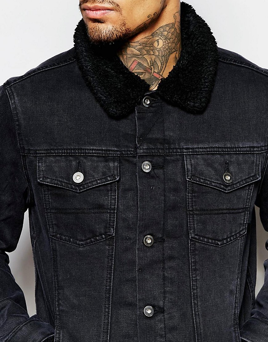 Black Denim Jacket with Shearling Collar