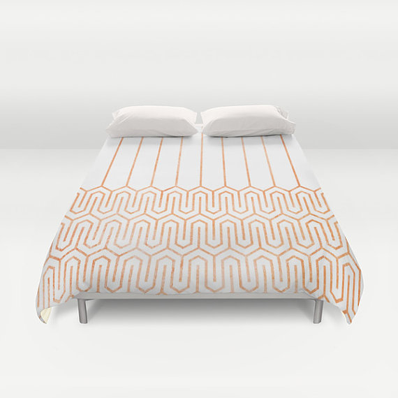 Copper Geometric Print Duvet Cover