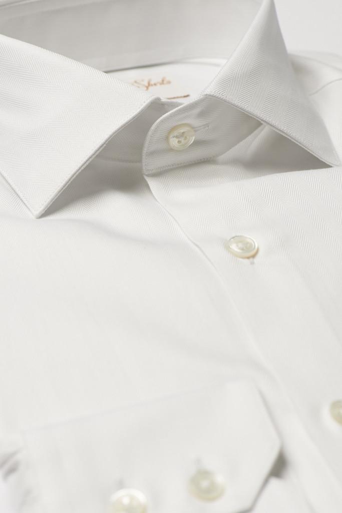 White Herringbone Shirt by Hawkins & Shepherd