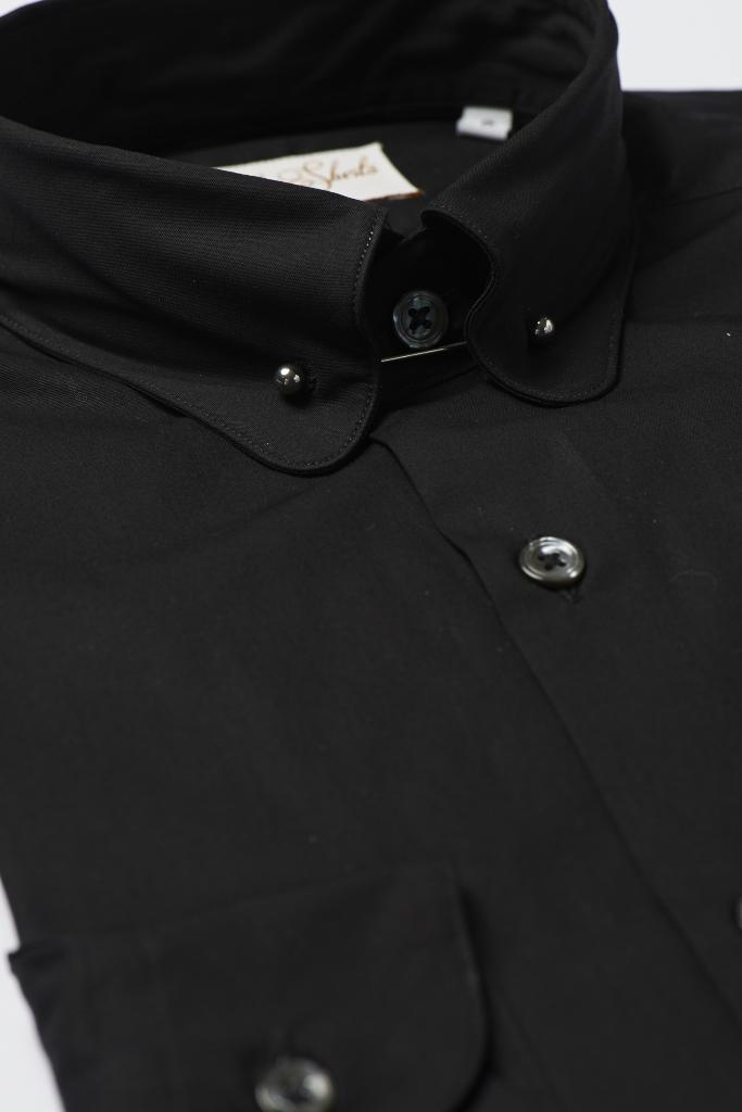 Hawkins & Shepherd Black Pin Collar Shirt