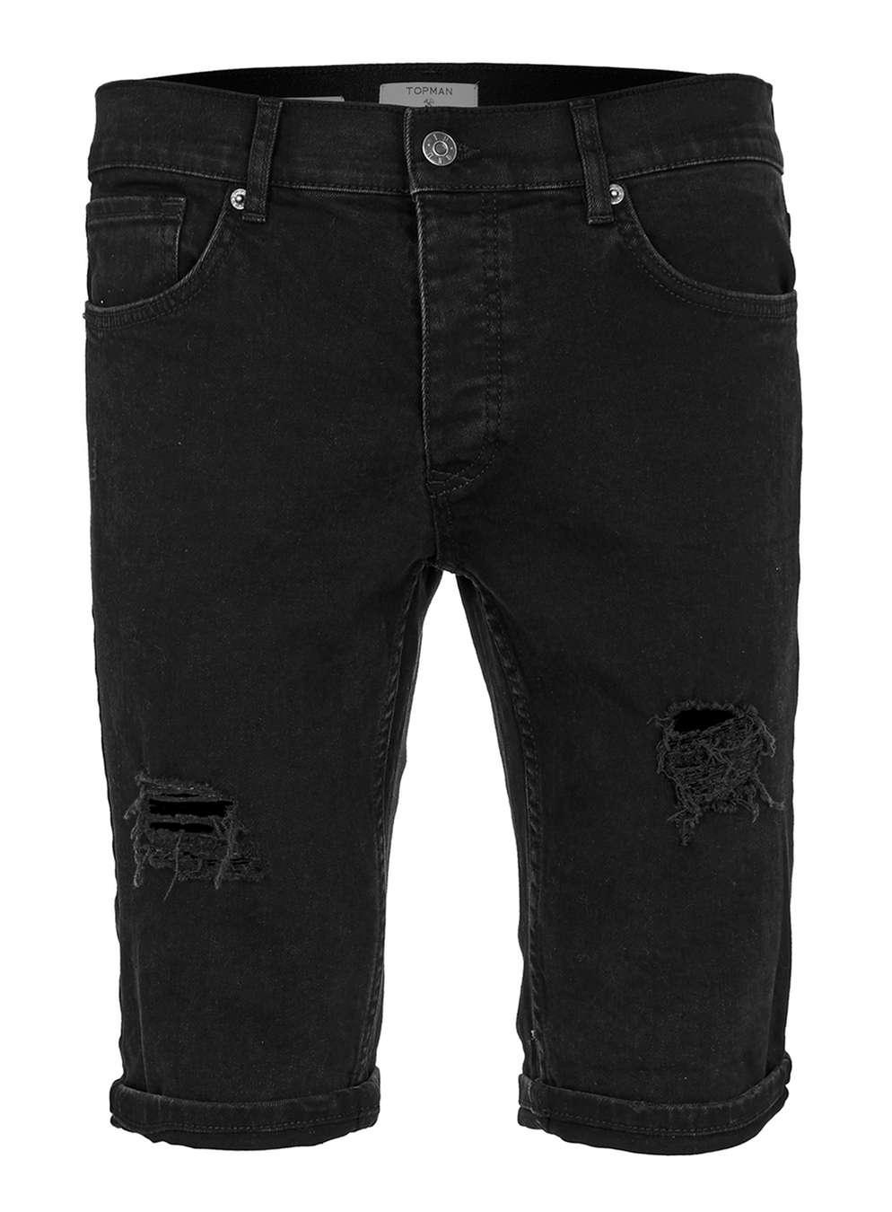 Topman Black Rip Shorts