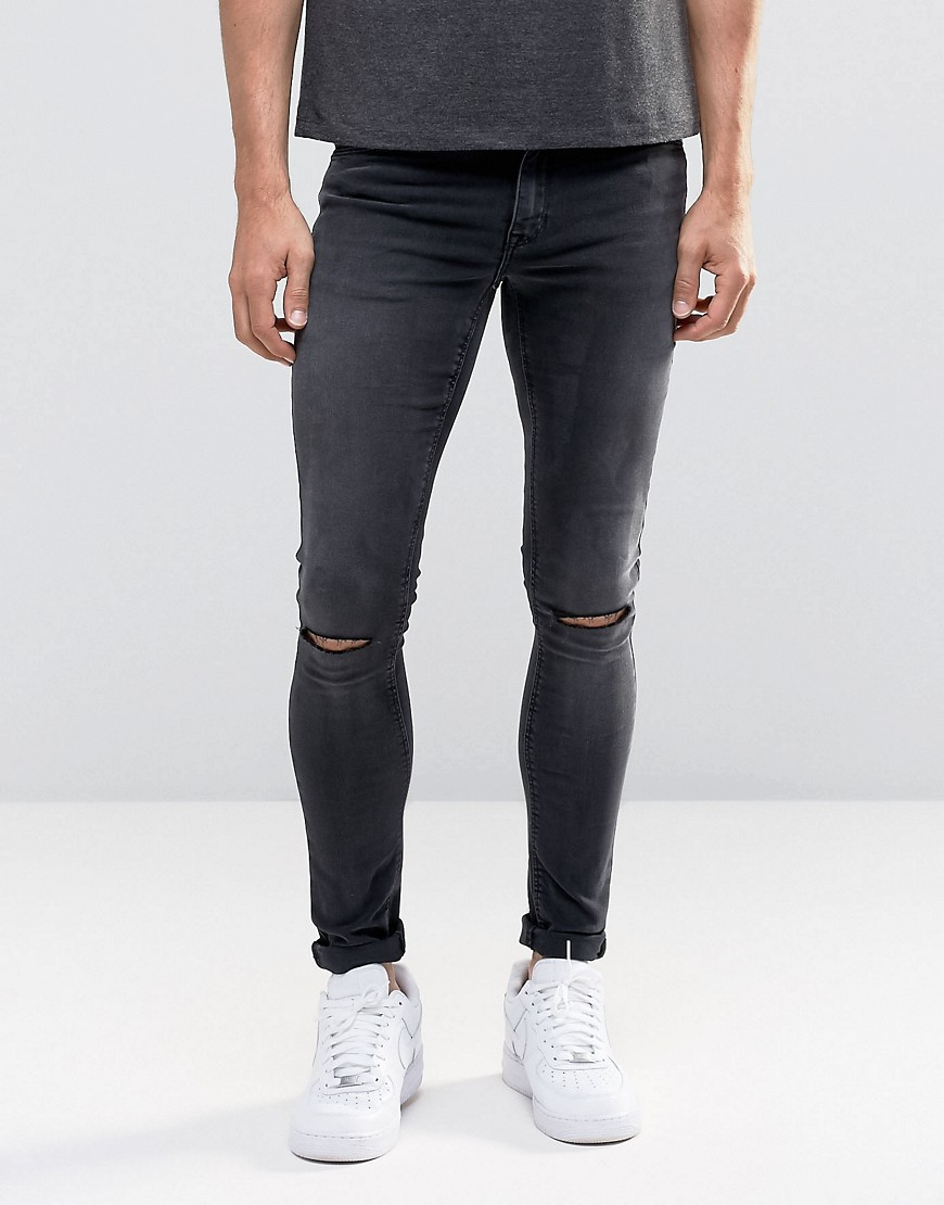 ASOS SKinny Washed Black Jeans with Rips