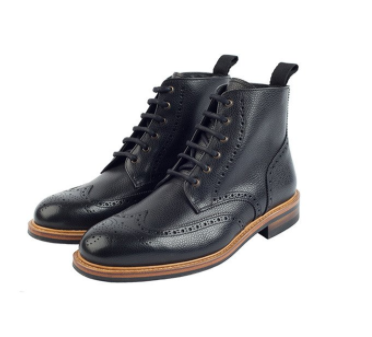 Bourton Black Brogue Boots