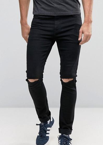 ASOS Black Skinny Rip Jeans