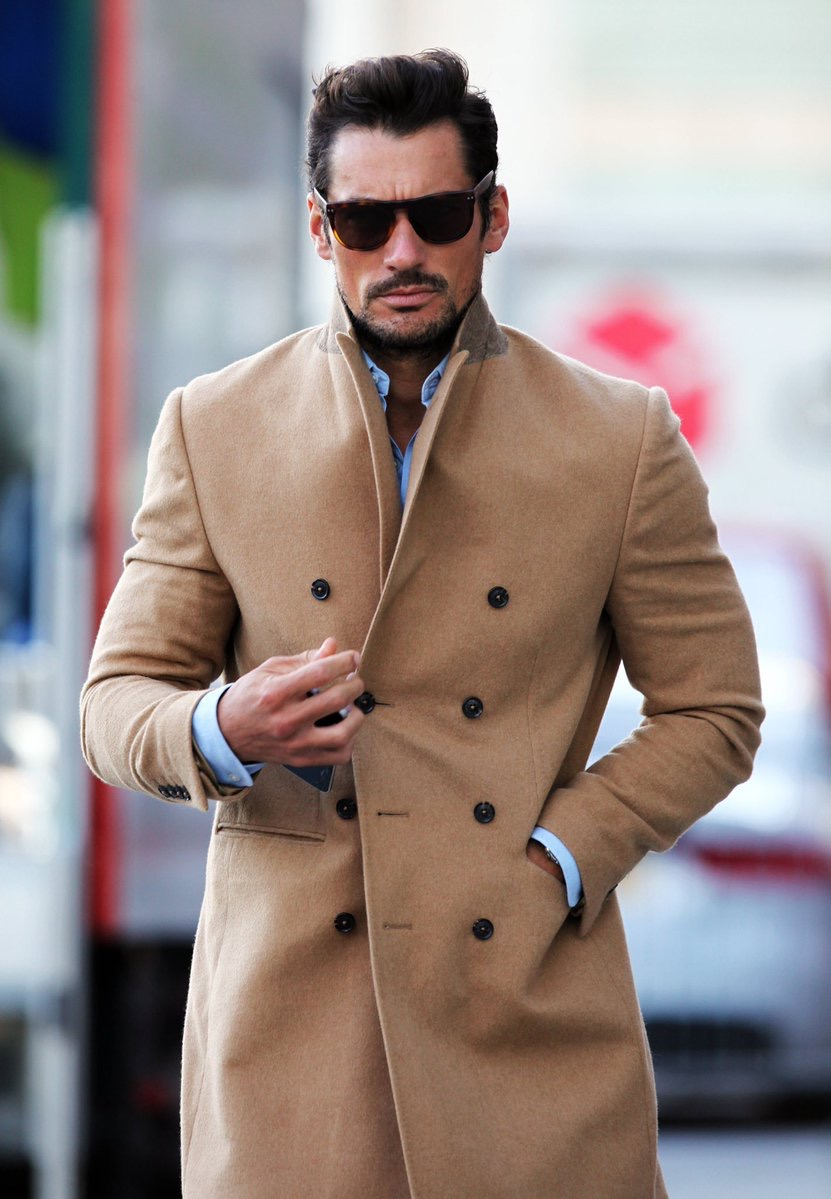Worn by David Gandy - Hawkins & Shepherd 100% Cashmere Camel Overcoat
