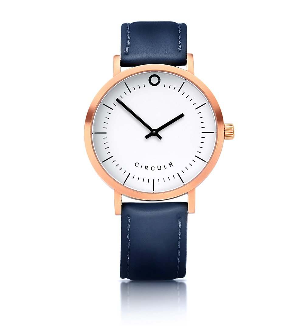 Navy Watch with Rose Gold Detail