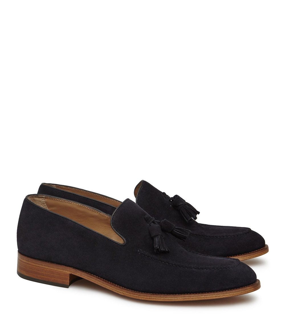 Reiss Navy Tassel Loafers