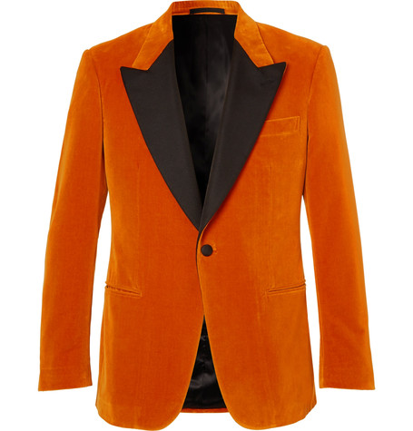 Kingsman x Eggsy's Orange Faille-Trimmed Cotton-Velvet Tuxedo Jacket