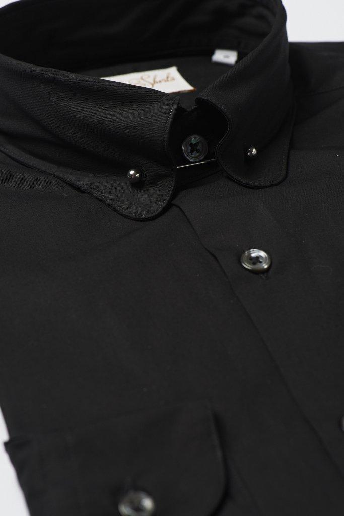 Black Pin Collar Shirt by Hawkins & Shepherd