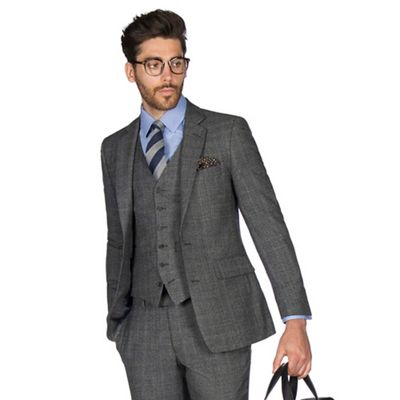 HAMMOND & CO. BY PATRICK GRANT GREY WITH CARAMEL OVERCHECK WOOL BLEND 2 BUTTON FRONT TAILORED FIT ST