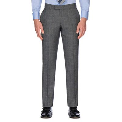 HAMMOND & CO. BY PATRICK GRANT GREY WITH CARAMEL OVERCHECK WOOL BLEND PLAIN FRONT TAILORED FIT SUIT