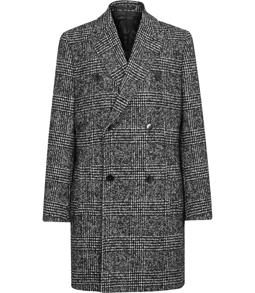 Reiss Black Check Overcoat £350
