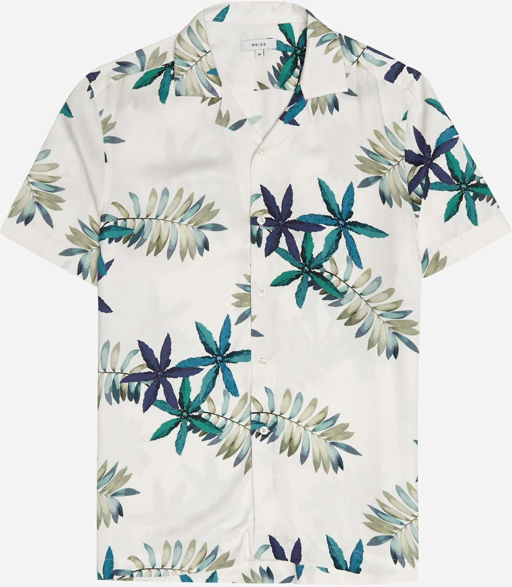 REISS CUBAN COLLAR PRINTED SHIRT