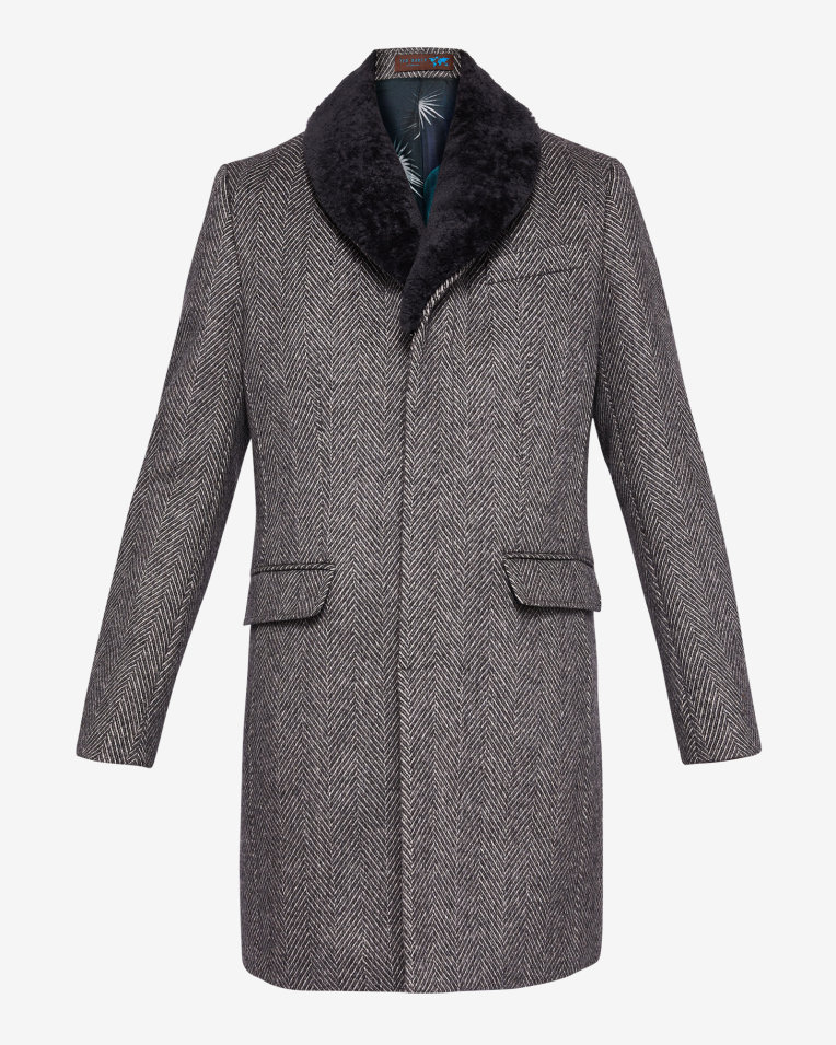 Ted Baker HERRINGBONE WOOL OVERCOAT