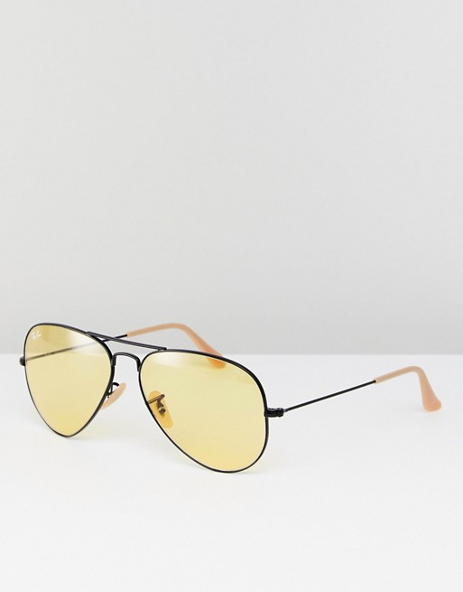 RAY-BAN 0RB3025 AVIATOR SUNGLASSES WITH YELLOW LENS 58MM