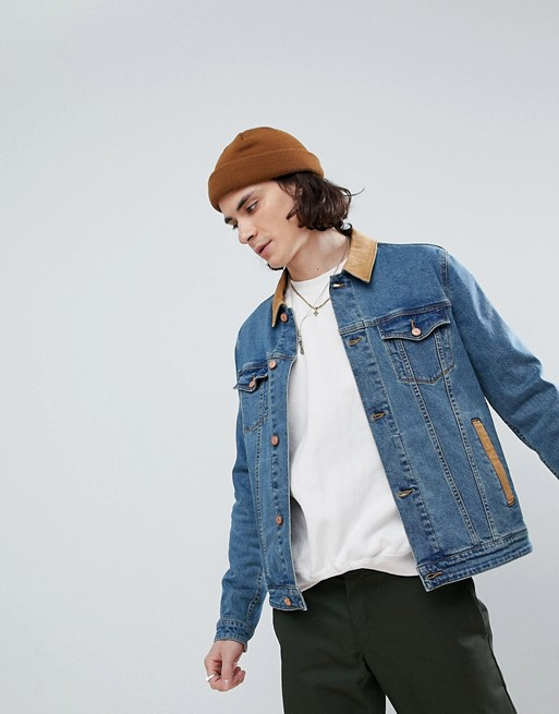 ASOS SKINNY DENIM JACKET WITH CORD COLLAR IN MID WASH