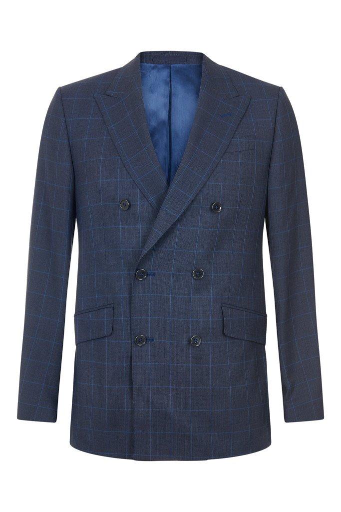 e0445c7a67ef49 Hawkins   Shepherd 100% British Wool Navy Windowpane Suit