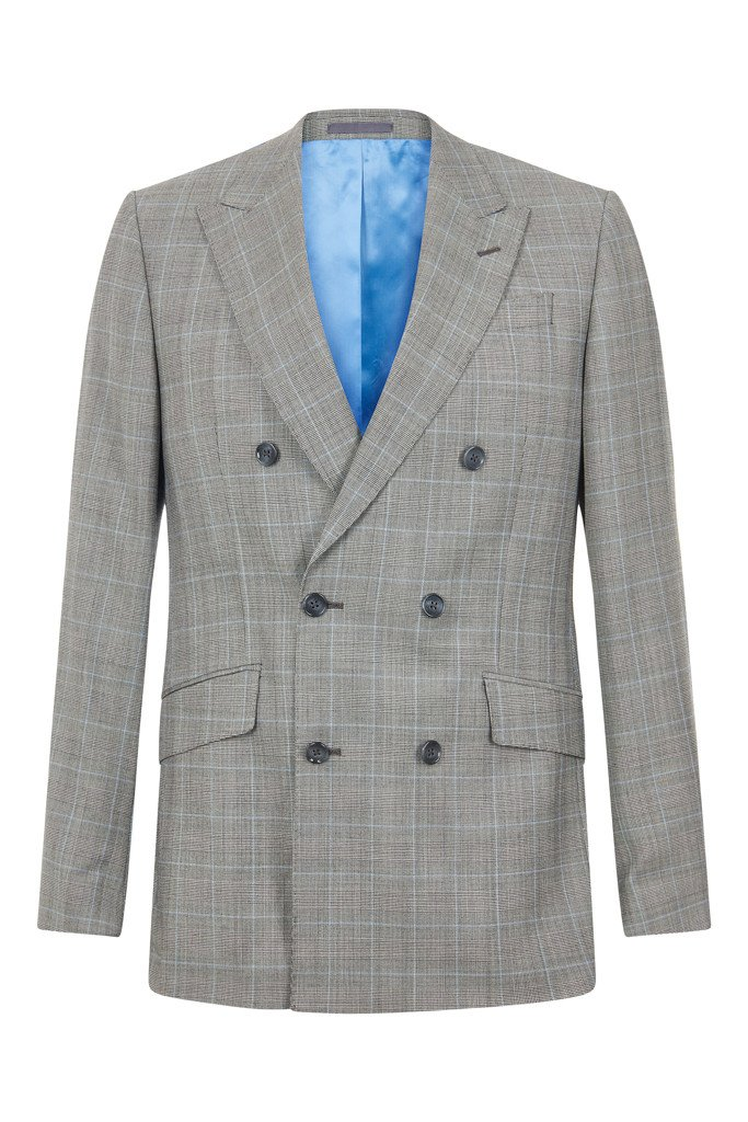 Hawkins & Shepherd 100% British Wool Grey Windowpane Suit